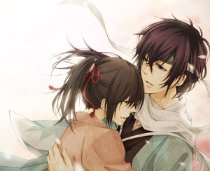 Rating: Safe Score: 16 Tags: blue_eyes brown_eyes brown_hair hakuouki_shinsengumi_kitan japanese_clothes kimono purple_hair saitou_hajime yukimura_chizuru User: HawthorneKitty