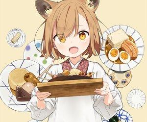 Rating: Safe Score: 72 Tags: animal_ears apron brown_hair cropped fang food japanese_clothes loli original sama short_hair yellow_eyes User: otaku_emmy