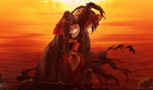 Rating: Questionable Score: 96 Tags: armor black_hair blood g_yuusuke game_cg kajiri_kamui_kagura sunset User: Wiresetc