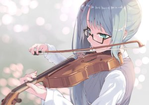 Rating: Safe Score: 103 Tags: blush close glasses green_eyes instrument jonsun kagura_suzu .live violin User: BattlequeenYume