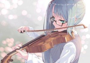 Rating: Safe Score: 90 Tags: blush close glasses green_eyes instrument jonsun kagura_suzu .live violin User: BattlequeenYume