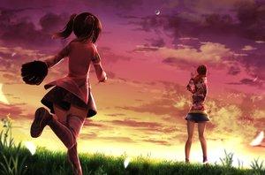 Rating: Safe Score: 89 Tags: 2girls ball baseball clouds grass love_live!_school_idol_project nishikino_maki orein purple_eyes skirt sky sport sunset twintails yazawa_nico User: gnarf1975