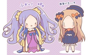 Rating: Safe Score: 36 Tags: 2girls abigail_williams_(fate/grand_order) blonde_hair bloomers bow cat_smile chibi chinese_clothes dress fate/grand_order fate_(series) hat long_hair mitarashi_neko purple_hair teddy_bear twintails waifu2x wu_zetian_(fate) User: otaku_emmy