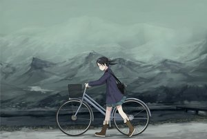 Rating: Safe Score: 82 Tags: bicycle black_hair boots landscape original polychromatic scenic skirt sody User: gnarf1975