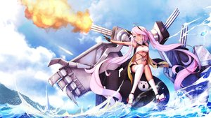 Rating: Safe Score: 18 Tags: anthropomorphism azur_lane bicolored_eyes clouds gloves horns indianapolis_(azur_lane) long_hair pink_hair sky tagme_(artist) twintails underboob water weapon User: BattlequeenYume