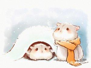 Rating: Safe Score: 30 Tags: animal blush nobody original scarf signed snow yutaka_kana User: otaku_emmy