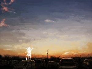 Rating: Safe Score: 96 Tags: car clouds dress lyricism3710 original scenic sky sunset white_hair User: STORM