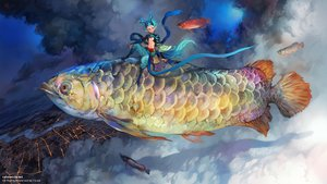 Rating: Safe Score: 70 Tags: all_male animal building city clouds fish male original pointed_ears sky watermark yilee User: FormX