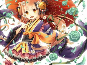 Rating: Safe Score: 21 Tags: animal_ears catgirl flowers garter japanese_clothes lichika nekomura_iroha petals ponytail rose umbrellac vocaloid User: FormX