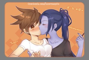 Rating: Safe Score: 46 Tags: 2girls atobesakunolove blue_hair blush brown_hair food hug kiss long_hair overwatch pocky ponytail short_hair shoujo_ai tracer transparent watermark widowmaker User: BattlequeenYume