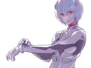 Rating: Safe Score: 112 Tags: ayanami_rei blue_hair bodysuit breasts neon_genesis_evangelion pink_eyes risa_hibiki short_hair white User: RyuZU