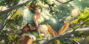 Rating: Safe Score: 50 Tags: blush breasts cleavage elbow_gloves gloves green_eyes green_hair hestia_(sdorica_-sunset-) huanxiang_huifeng mermaid pointed_ears sdorica_-sunset- User: gnarf1975
