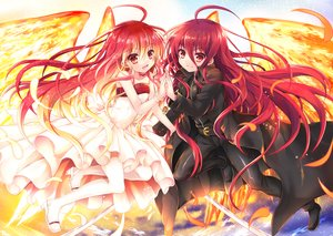 Rating: Safe Score: 134 Tags: dress feathers long_hair red_eyes red_hair shakugan_no_shana shana tachitsu_teto weapon wings User: RyuZU
