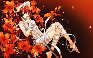 Rating: Safe Score: 194 Tags: bandage flowers katana long_hair navel nude orange red_eyes red_hair shakugan_no_shana shana sword weapon wentirtongmo User: Flandre93
