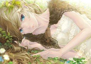 Rating: Safe Score: 225 Tags: aqua_eyes blonde_hair breasts cleavage dress flowers long_hair original piyotama User: opai