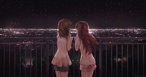 Rating: Safe Score: 96 Tags: 2girls apple228 brown_hair night original shorts User: luckyluna