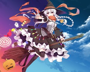 Rating: Safe Score: 89 Tags: blush braids candy clouds dress east01_06 halloween hat jpeg_artifacts long_hair magic original ponytail pumpkin red_eyes scarf sky thighhighs white_hair witch witch_hat User: luckyluna