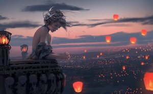 Rating: Safe Score: 385 Tags: ghostblade gray_hair necklace princess_yan scenic short_hair sky sunset tiara wlop User: BattlequeenYume