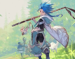 Rating: Safe Score: 3 Tags: animal aqua_hair armor blonde_hair boots braids butterfly cape fairy fate/grand_order fate_(series) forest grass habetrot_(fate) hat hoodie lack long_hair male red_eyes setanta_(fate) staff sword tonelico_(fate) tree weapon wink wristwear User: otaku_emmy