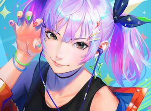 Rating: Safe Score: 93 Tags: close cropped headphones nababa original purple_hair realistic short_hair twintails User: sadodere-chan