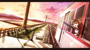 Rating: Safe Score: 76 Tags: brown_eyes brown_hair clouds landscape original pomon_illust scenic sky train vocaloid User: Flandre93