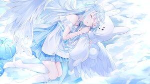 Rating: Safe Score: 47 Tags: aliasing amatsuka_uto amatsuka_uto_(channel) angel blue_eyes bunny clouds dress kneehighs long_hair nabi_(uz02) sky sleeping thighhighs wings User: BattlequeenYume