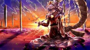 Rating: Safe Score: 41 Tags: clouds dress harunonanashiki long_hair purple_hair red_eyes sky sunset touhou water yasaka_kanako User: STORM