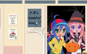 Rating: Safe Score: 0 Tags: blue_hair book glasses green_eyes halloween hat izumi_konata long_hair lucky_star pink_hair pumpkin purple_eyes tagme_(artist) takara_miyuki witch User: Oyashiro-sama