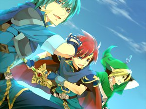 Rating: Safe Score: 81 Tags: all_male aqua_hair blonde_hair blue_eyes cape fire_emblem link_(zelda) male marth_(fire_emblem) nintendo pointed_ears red_hair roy_(fire_emblem) short_hair super_smash_bros. sword tagme the_legend_of_zelda weapon User: w7382001