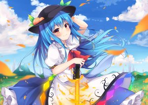 Rating: Safe Score: 47 Tags: aqua_hair blush clouds dress fire hat hinanawi_tenshi long_hair petals red_eyes sisterakuma sky sword touhou weapon User: RyuZU