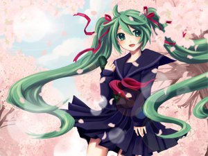 Rating: Safe Score: 51 Tags: aqua_eyes aqua_hair cherry_blossoms flowers hatsune_miku long_hair petals school_uniform skirt sky twintails vocaloid yayoi_(egoistic_realism) User: HawthorneKitty