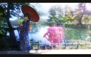 Rating: Safe Score: 133 Tags: anthropomorphism brown_eyes brown_hair japanese_clothes jpeg_artifacts kaga_(kancolle) kantai_collection kimono long_hair ponytail pupps reflection shade socks tree umbrella water User: otaku_emmy