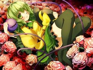 Rating: Safe Score: 40 Tags: flowers gengetsu_chihiro green_eyes green_hair hat komeiji_koishi ribbons rose short_hair thighhighs touhou wink User: C4R10Z123GT