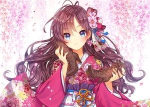 Rating: Safe Score: 202 Tags: aqua_eyes boots brown_hair cherry_blossoms gabe_(seelunto) headdress ichinose_shiki idolmaster idolmaster_cinderella_girls japanese_clothes kimono long_hair User: Flandre93