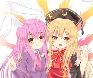 Rating: Safe Score: 41 Tags: 2girls aliasing animal_ears blonde_hair blush bunny_ears bunnygirl chinese_clothes close headdress hug junko long_hair orange_eyes purple_hair ramudia_(lamyun) red_eyes reisen_udongein_inaba signed suit tie touhou User: otaku_emmy