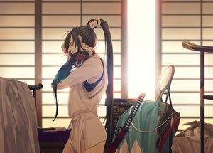 Rating: Safe Score: 34 Tags: all_male anthropomorphism aqua_eyes brown_hair katana long_hair male mirror ponytail sword tagme_(character) touken_ranbu two_frame uniform weapon User: BattlequeenYume