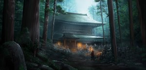 Rating: Safe Score: 92 Tags: armor building cape dark fire forest original saito_(esu) scenic sword tree weapon User: otaku_emmy