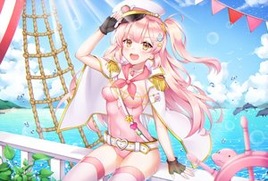 Rating: Safe Score: 150 Tags: animal blush bodysuit breasts brown_eyes cape choker clouds dolphin hat long_hair original pink_hair pong_(vndn124) ponytail skintight sky summer thighhighs water User: luckyluna