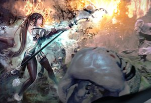 Rating: Safe Score: 179 Tags: brown_hair evie fire long_hair ponytail staff vindictus User: earl-phantomhive