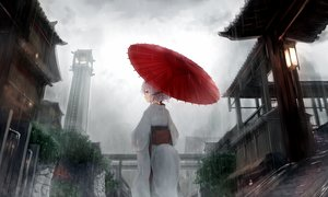 Rating: Safe Score: 84 Tags: braids building clouds gray_hair guo582 japanese_clothes kimono original purple_eyes rain sky tail umbrella water User: BattlequeenYume