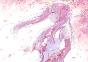 Rating: Safe Score: 73 Tags: aliasing hatsune_miku long_hair mimengfeixue petals pink_hair sakura_miku tie twintails vocaloid User: luckyluna