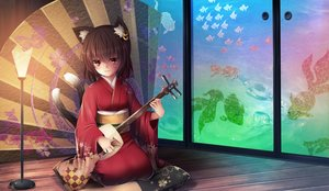 Rating: Safe Score: 39 Tags: animal_ears brown_hair catgirl chen hotto_kakigōri instrument japanese_clothes kimono multiple_tails red_eyes short_hair tail touhou User: luckyluna