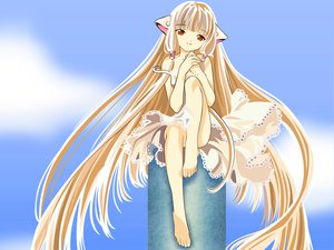Rating: Questionable Score: 32 Tags: barefoot chii chobits dress long_hair User: gnarf1975