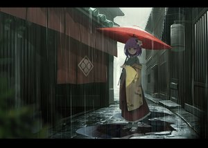 Rating: Safe Score: 167 Tags: fami_(yellow_skies) hieda_no_akyuu purple_hair rain touhou umbrella water User: luckyluna