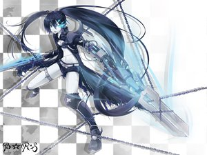 Rating: Safe Score: 59 Tags: black_rock_shooter chain gun kuroi_mato sword weapon yukinon User: HawthorneKitty