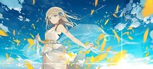 Rating: Safe Score: 139 Tags: aqua_eyes blonde_hair clouds dress flowers long_hair original petals rose sky summer_dress sutorora User: RyuZU