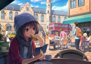 Rating: Safe Score: 35 Tags: book brown_hair building car city clouds drink food group hat male original purple_eyes scarf scenic shade short_hair sky vikpie User: BattlequeenYume