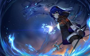 Rating: Safe Score: 99 Tags: arknights blue_hair blush gloves horns long_hair mostima_(arknights) night shorts sky stars sword tail telru weapon User: BattlequeenYume