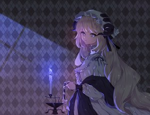 Rating: Safe Score: 68 Tags: arknights blonde_hair blue_eyes dark dress hat horns long_hair nightingale_(arknights) rimsuk User: BattlequeenYume