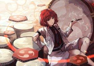 Rating: Safe Score: 93 Tags: bellabow horikawa_raiko red_eyes red_hair shirt tie touhou User: RyuZU